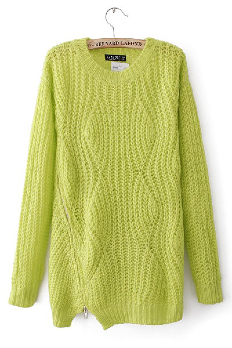 Western Loose Zipper  Knitted Sweater,Cheap in Wendybox.com