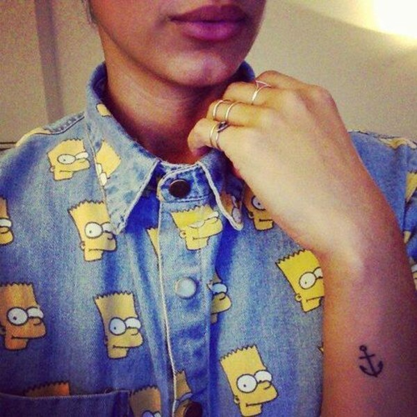 shirt t-shirt collar denim bart simpson the simpsons the simpsons unisex