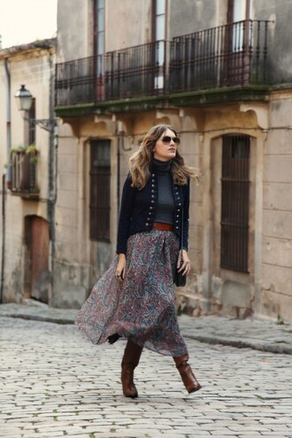 my daily style blogger jacket folk flowy skirt brown leather boots