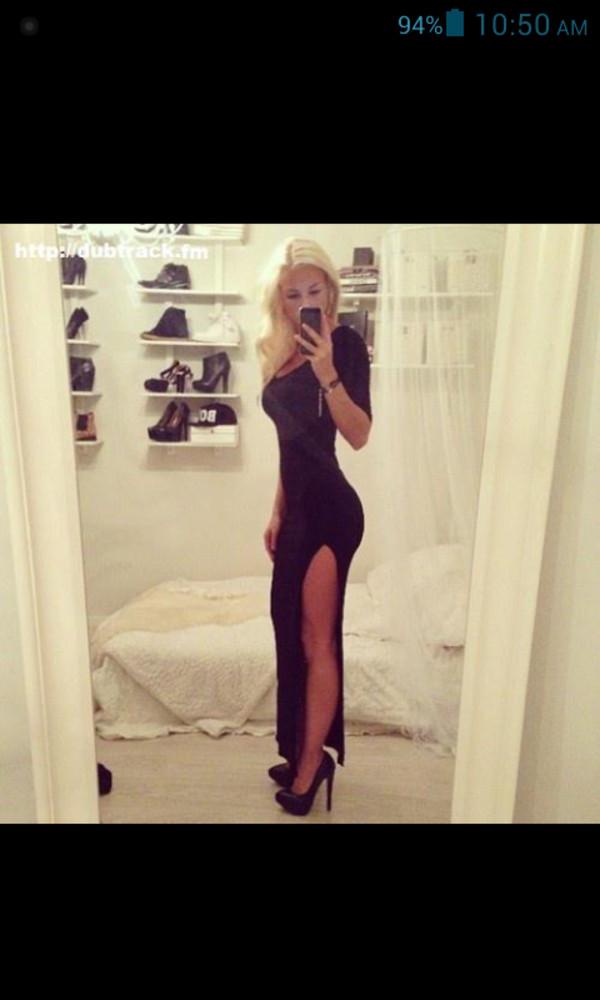dress black dress long black dress cut-out dress