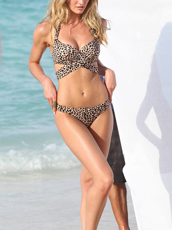 Leopard Hollow Vintage Halter Top Bikinis : KissChic.com