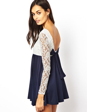 Club L | Club L Long Sleeve Lace Dress with Bow Back at ASOS