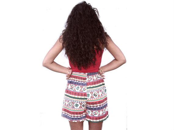 Vintage geometrische Aztec StammesDruck hoch taillierte von navelte