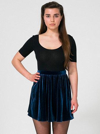 Stretch Velvet Skirt   American Apparel