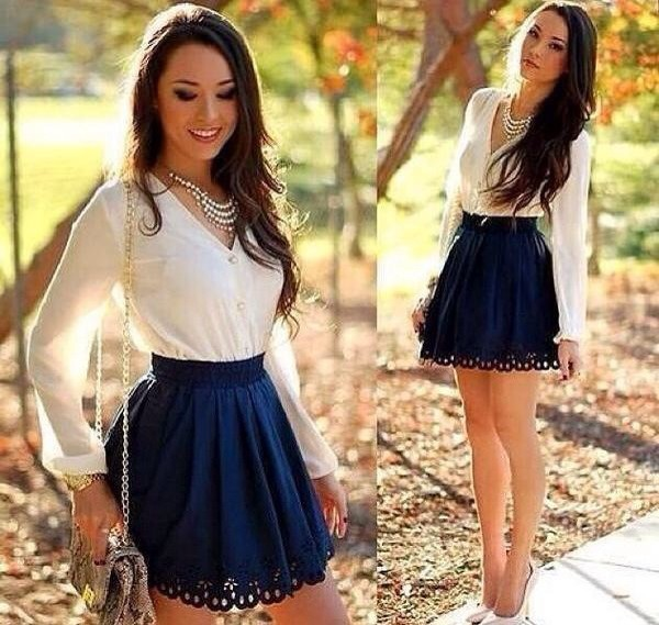long sleeves statement necklace mini skirt blue skirt white heels