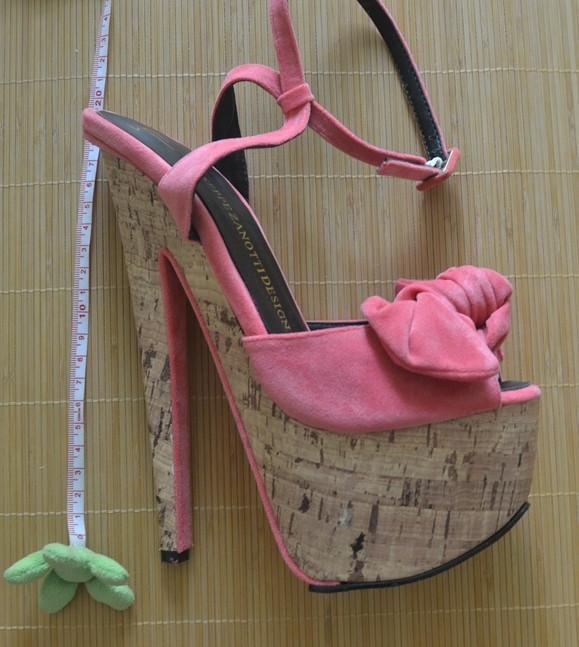 18cm plus size 2013 Women's Platform Pumps Vintage Brand GZ Genuine Nubuck Leather Bowtie Peep Toe High Heel Sandals Shoes-in Sandals from Shoes on Aliexpress.com