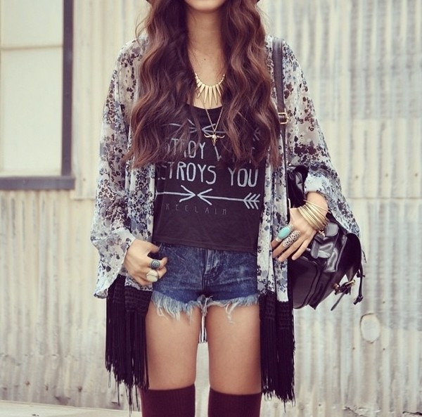 shorts t-shirt blouse cardigan cool girl style hair gold jewelry gold bag lovely top graphic tee hippie shirt kimono High waisted shorts black and white blouse gold necklace arrows destroy what destroys you denim shorts blue jean shorts womens short shorts short shorts cute cute top necklace