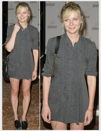 shoes loafers kirsten dunst boyish shirt dress grey dress dress