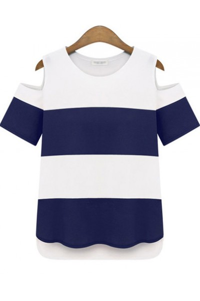KCLOTH Dark Blue and White Cold Shoulder Striped T-shirt