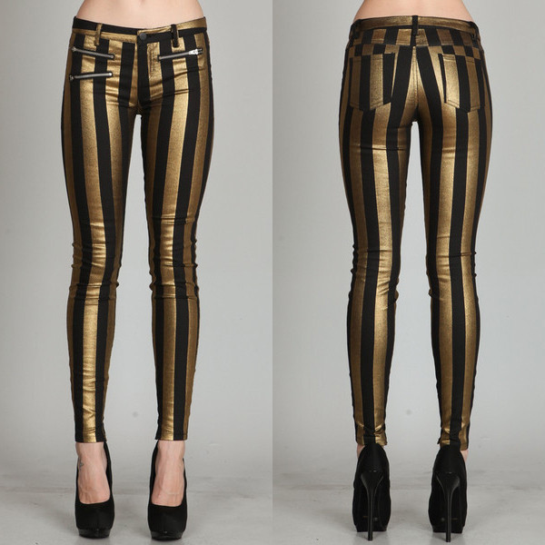 pants mark line stripes stripes bottoms jeans zip gold black makeup table vanity row dress to kill chic striped pants