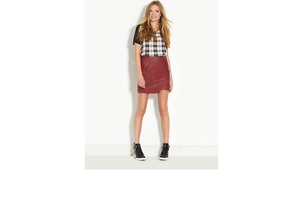 Neon Rose Zip Leather Look Skirt - BANK Fashion