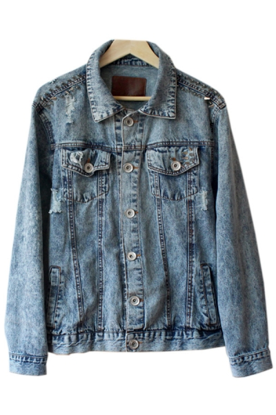 Fashion Studded Denim Jacket - OASAP.com