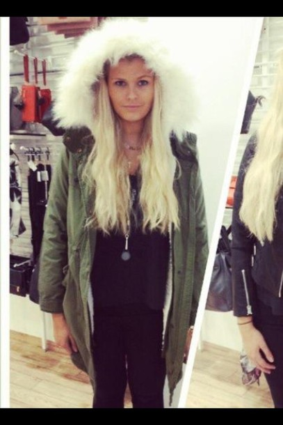 jacket fur army green jacket parka winter outfits winter coat winter jacket necklace fur coat fur jacket