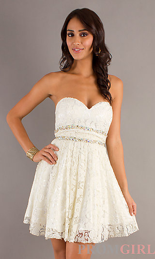Short Lace Ivory Prom Dress, Ivory Cocktail Dress- PromGirl