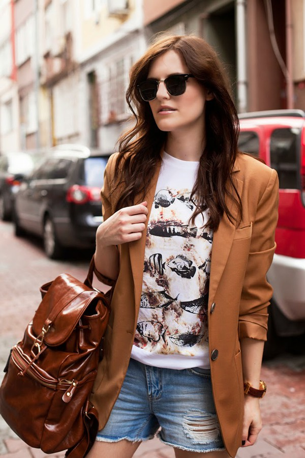 the bow-tie t-shirt sunglasses jacket shorts