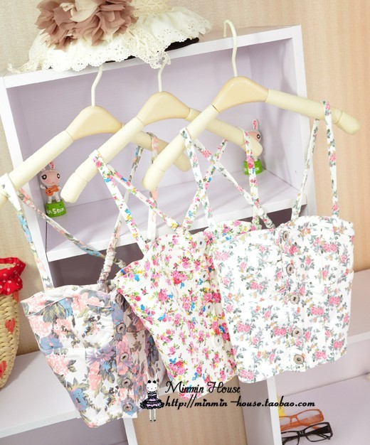 crop top Floral print top slim small vest short tube top design tube top vintage basic bare midriff strapless shirt female-inCamis from Apparel & Accessories on Aliexpress.com