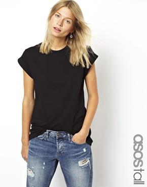 ASOS Tall   ASOS TALL Boyfriend T-shirt With Roll Sleeves at ASOS