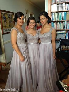 Bridalsky Custom Made 2014 New Big Discount Cap Sleeve Long Bridesmaid Dresses | eBay