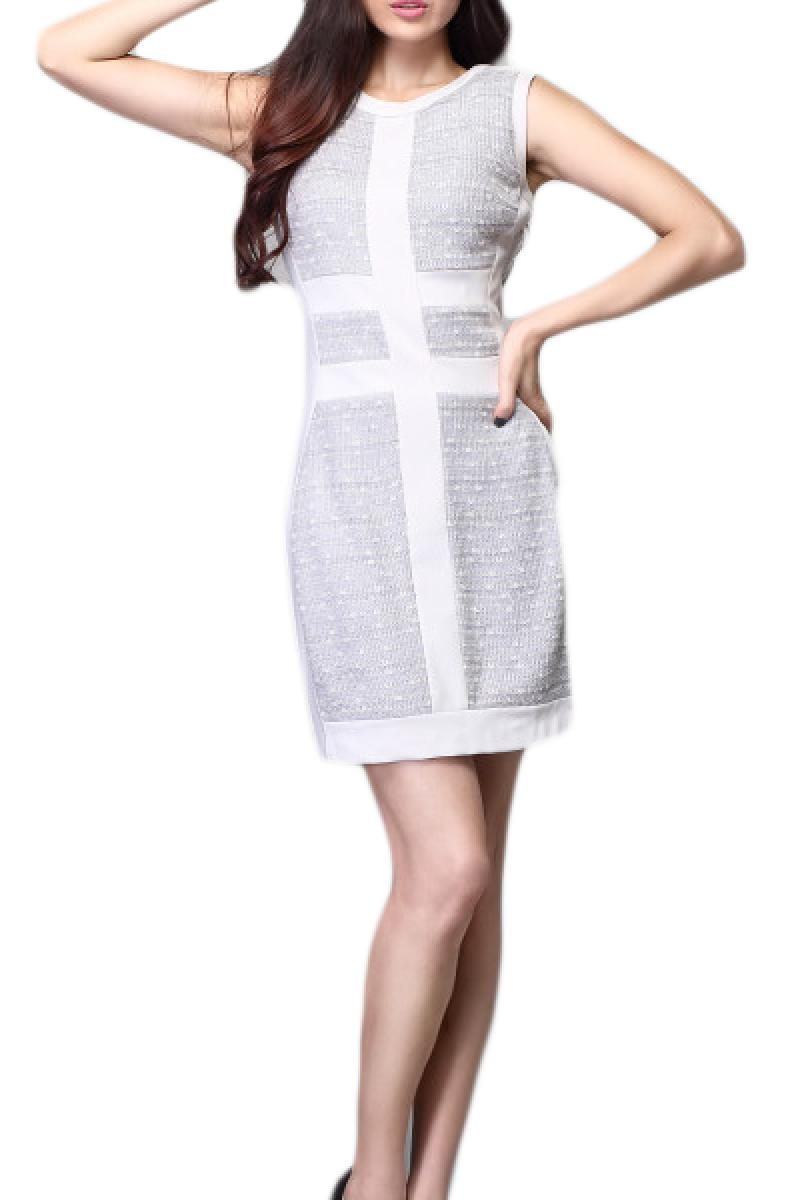 Sleeveless Round Collar Stitching Slim Fit Dress,Cheap in Wendybox.com