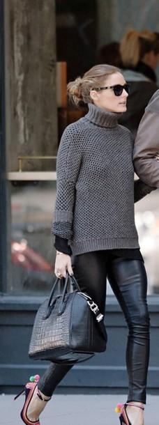 wool olivia palermo grey sweater turtleneck leather pants sweater