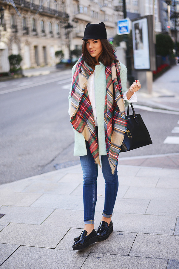the fashion through my eyes coat hat scarf bag jeans shoes
