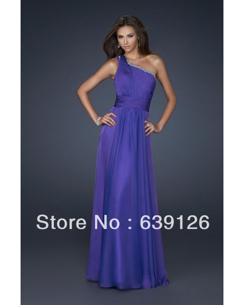 Hot Sale Purple Chiffon One Shoulder jovarni dress floor length Prom/Evening Dress-in Evening Dresses from Apparel & Accessories on Aliexpress.com