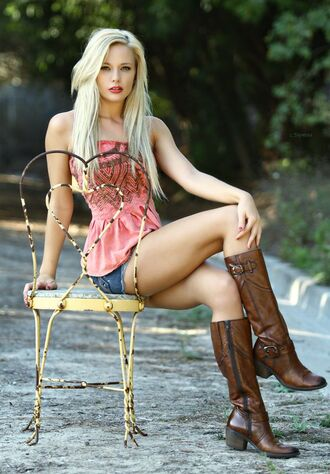 shoes boots brown boots country western denim shorts denim country style strapless tube top peplum shorts top
