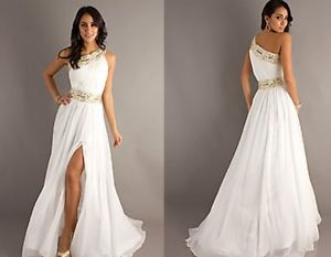 One Shoulder Grecian Gown Size 2 White 100 Polyester | eBay