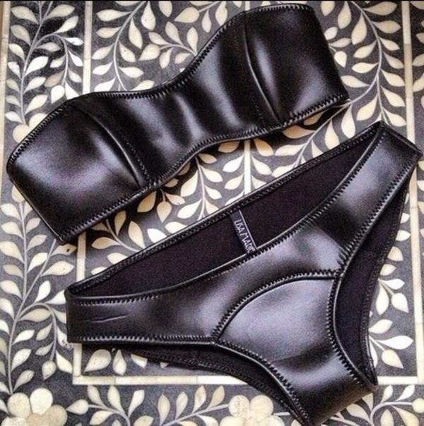 swimwear leather black underwear