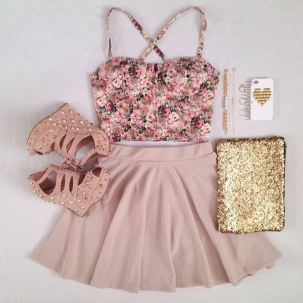 skirt floral tank top pink high heels pink skirt tank top dress crop tops floral bralette skater skirt