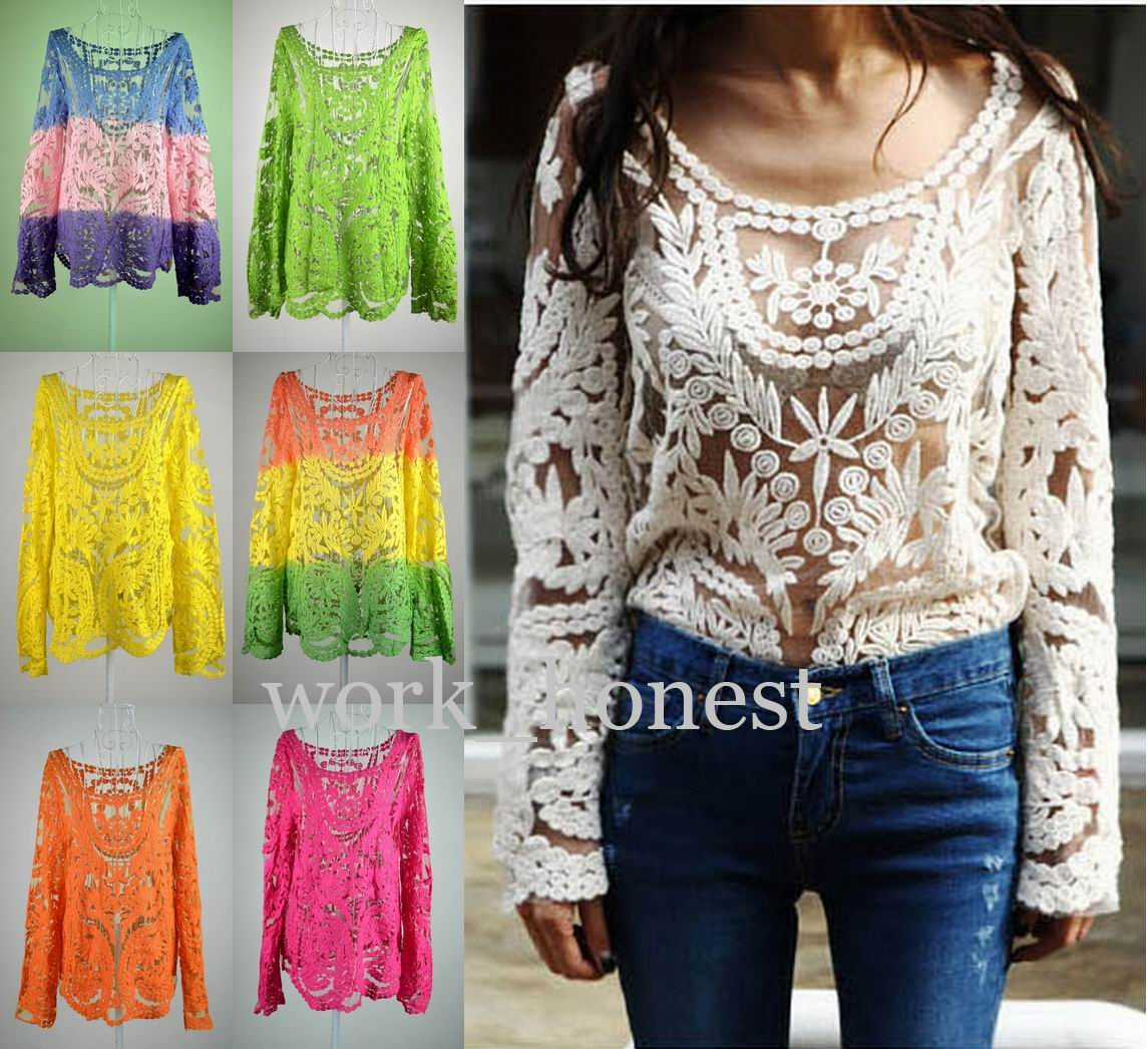 Hot Semi Sheer Women Sleeve Embroidery Floral Lace Crochet T-Shirt Top Blouse | eBay