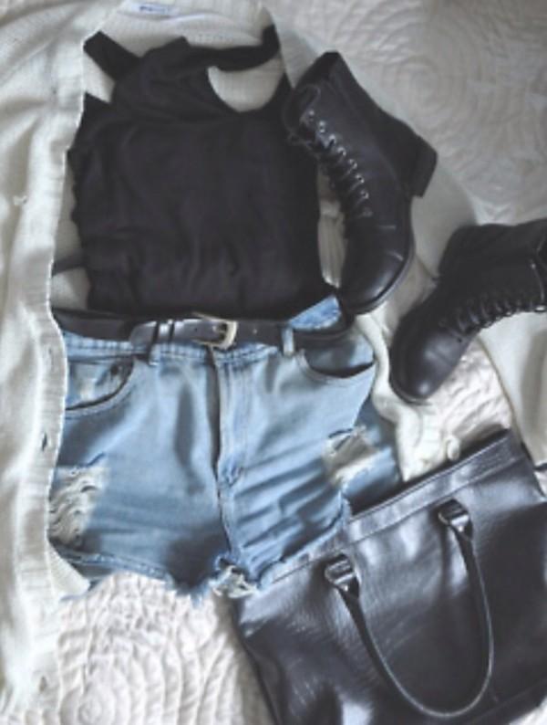 shoes combat black shorts bag