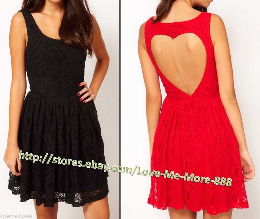 XS-XXL Round neck Heart Cut out open back buttons LACE Mini Casual Club Dress | eBay