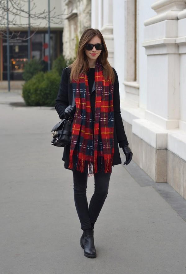 coat sweater pants scarf shoes bag sunglasses