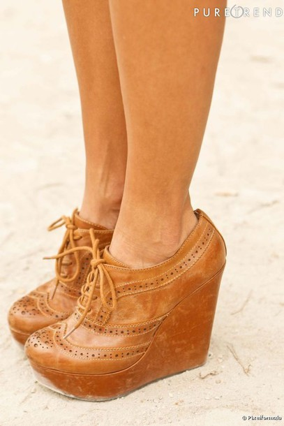 oxfords dream wedges brown leather shorts