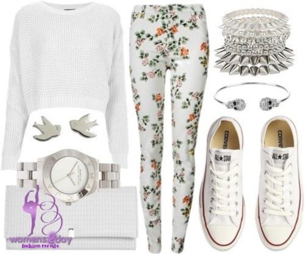 jeans jewels sweater floral pants shoes