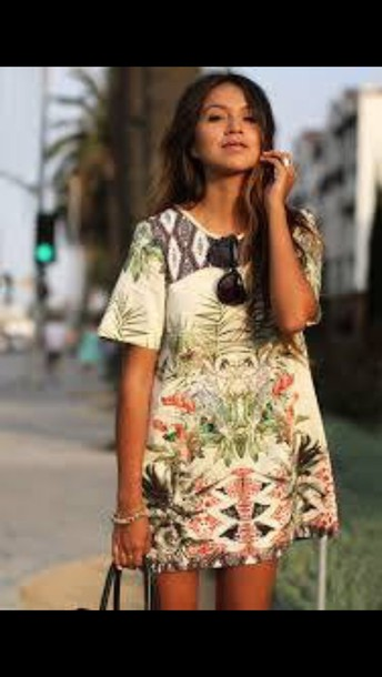 dress white red green dress flowers printed dress plants plants