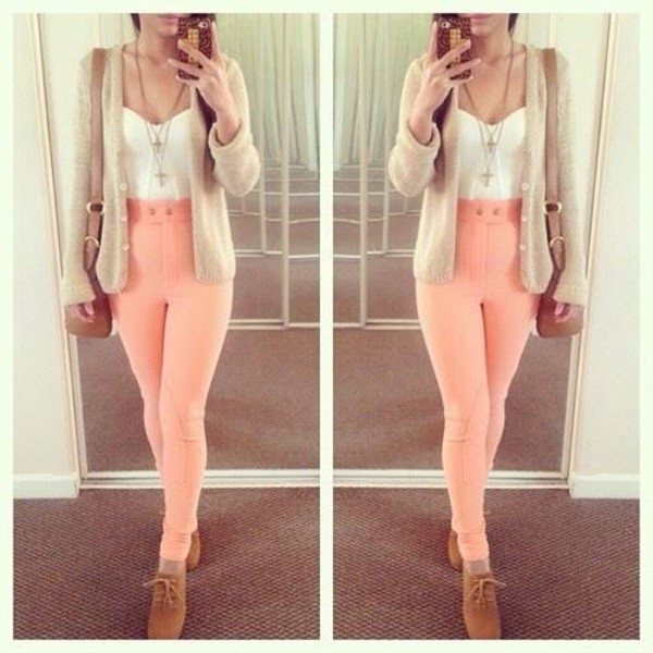 jacket cream jeans pink tank top jewels pink jeans pants high waisted trousers cardigan lace up heels high waisted pants bag