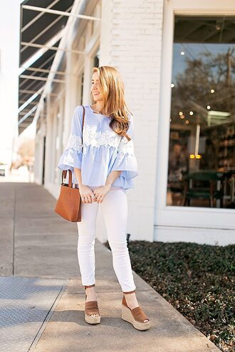 a lonestar state of southern blogger top jeans shoes bag jewels blouse handbag white jeans wedges