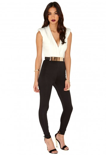 Latina Belted Crossover Contrast Jumpsuit - Jumpsuits and Playsuits - Jumpsuits - Missguided