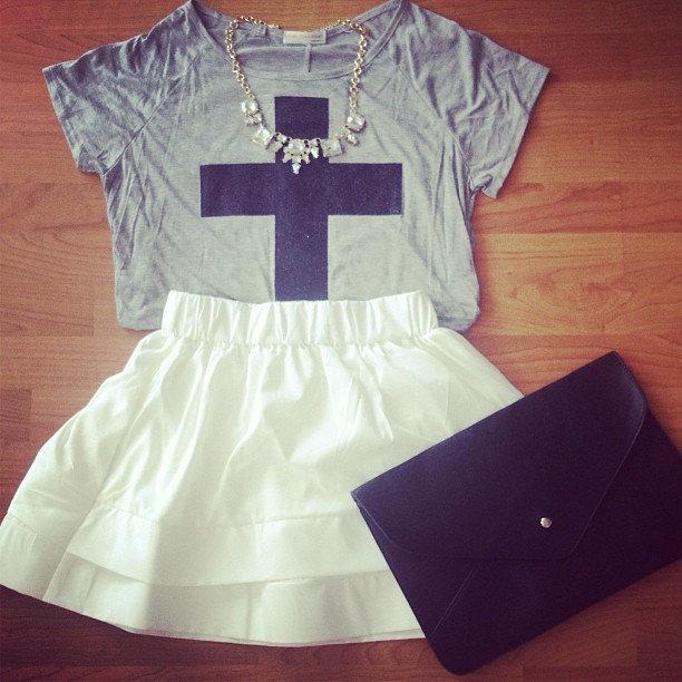 Shimmer Cross Tee - Furor Moda - Tops - Dresses - Jackets - Vintage on Wanelo