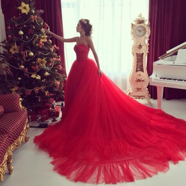 dress red dress formal dress ball gown dress