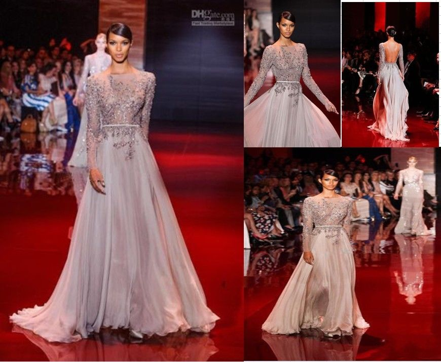 Elie Saab Sheer Beaded And Leather Belts Sheath Long Sleeves evening prom dress  | eBay