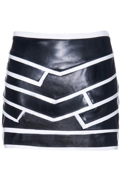 ROMWE | ROMWE White Line Embellished Vinyl Black Skirt, The Latest Street Fashion