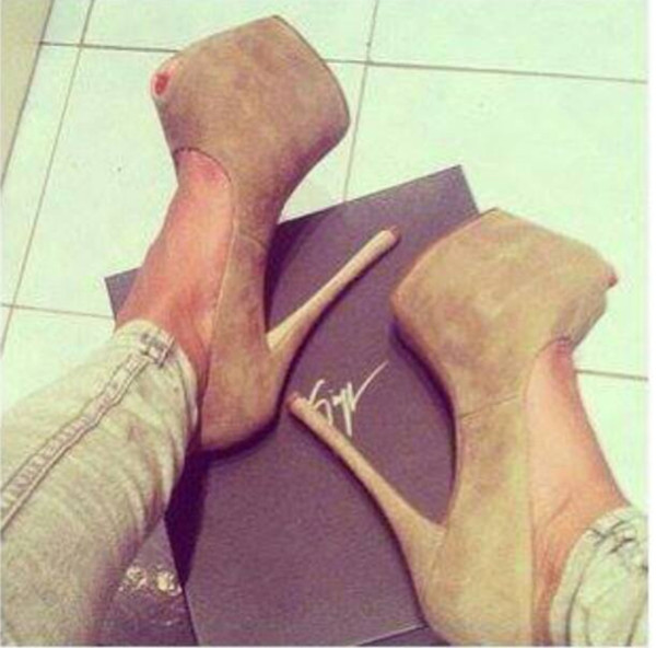 shoes beige heels peep toe sexy tan high heels
