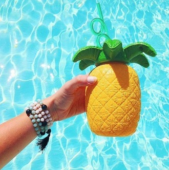 home accessory pineapple pineapple print mug water swimwear pool pool party sipper