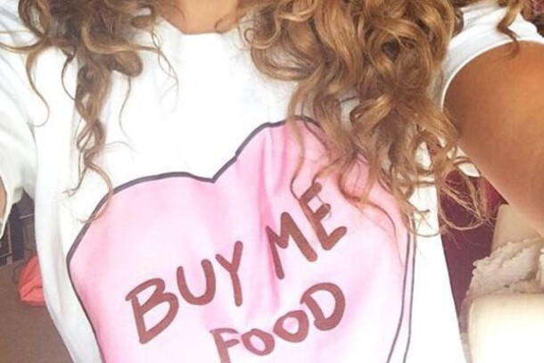shirt buy me food white t-shirt big pink hear