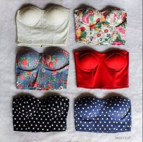 top bustier hipster floral crop tops polka dots