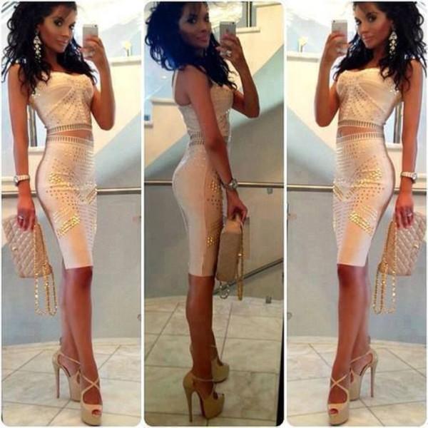 dress fashion beauty fashion shopping luxury gold party cash white dress creme dress escarpins