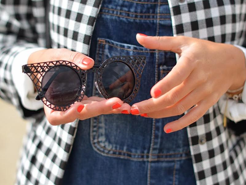 Ridge Hollow Out Cat Eye Sunglasses   Choies
